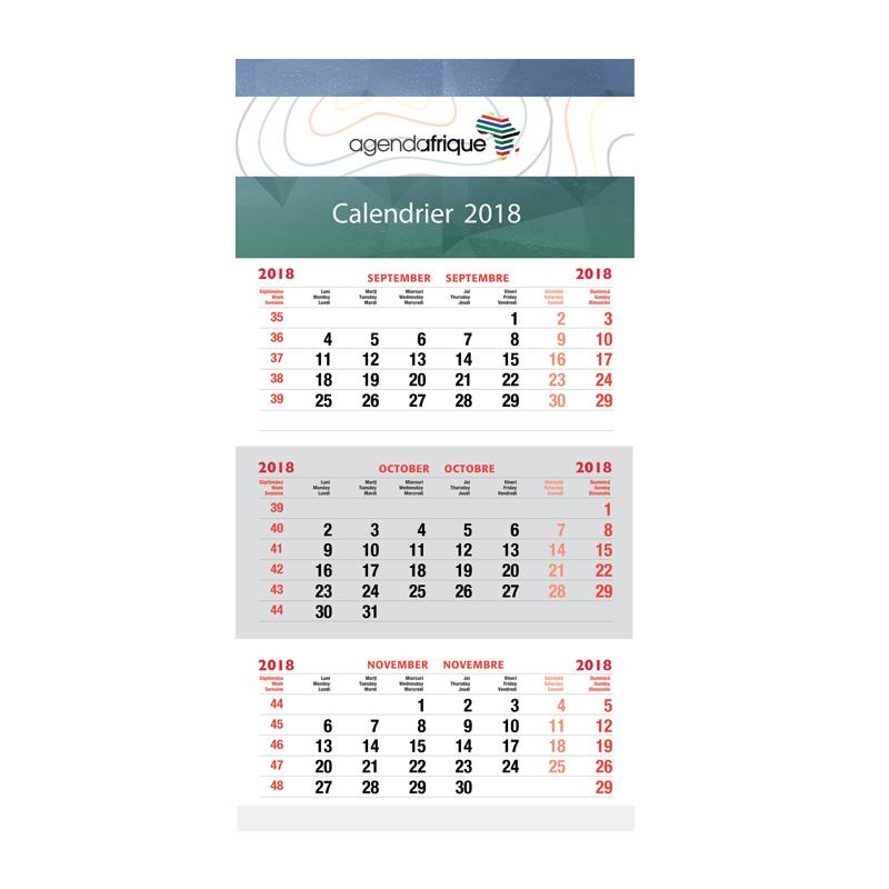 Triptych wall calendar agenda afrique calendars for Calendrier mural 2015